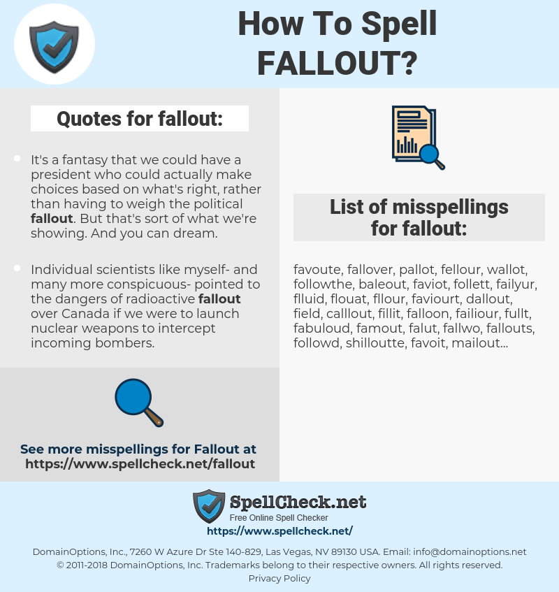 fallout, spellcheck fallout, how to spell fallout, how do you spell fallout, correct spelling for fallout