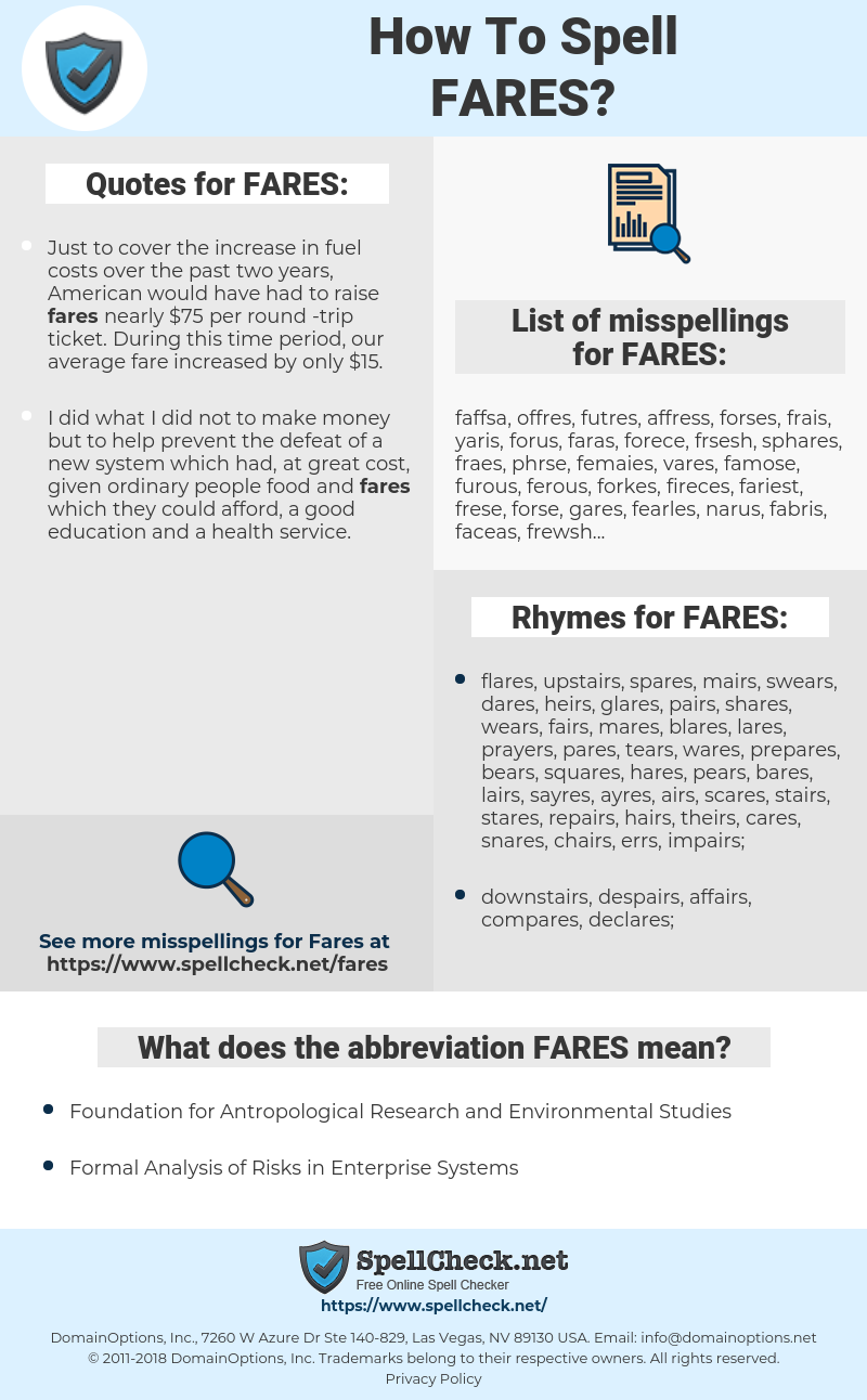 FARES, spellcheck FARES, how to spell FARES, how do you spell FARES, correct spelling for FARES