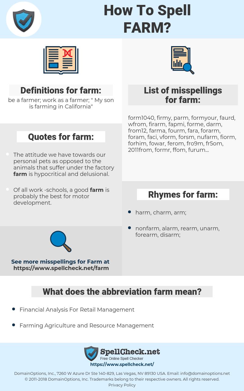 farm, spellcheck farm, how to spell farm, how do you spell farm, correct spelling for farm