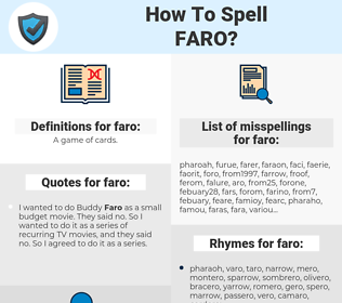 faro, spellcheck faro, how to spell faro, how do you spell faro, correct spelling for faro