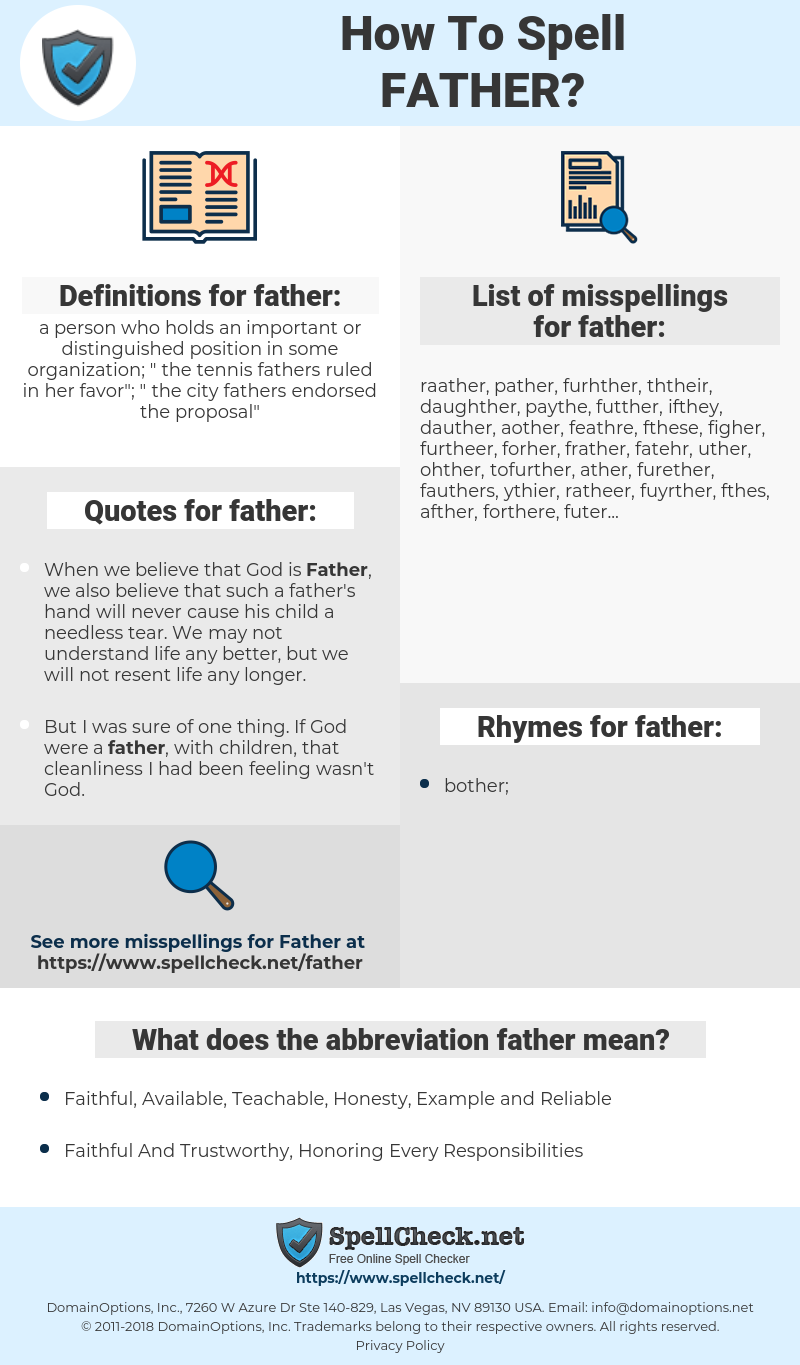 father, spellcheck father, how to spell father, how do you spell father, correct spelling for father