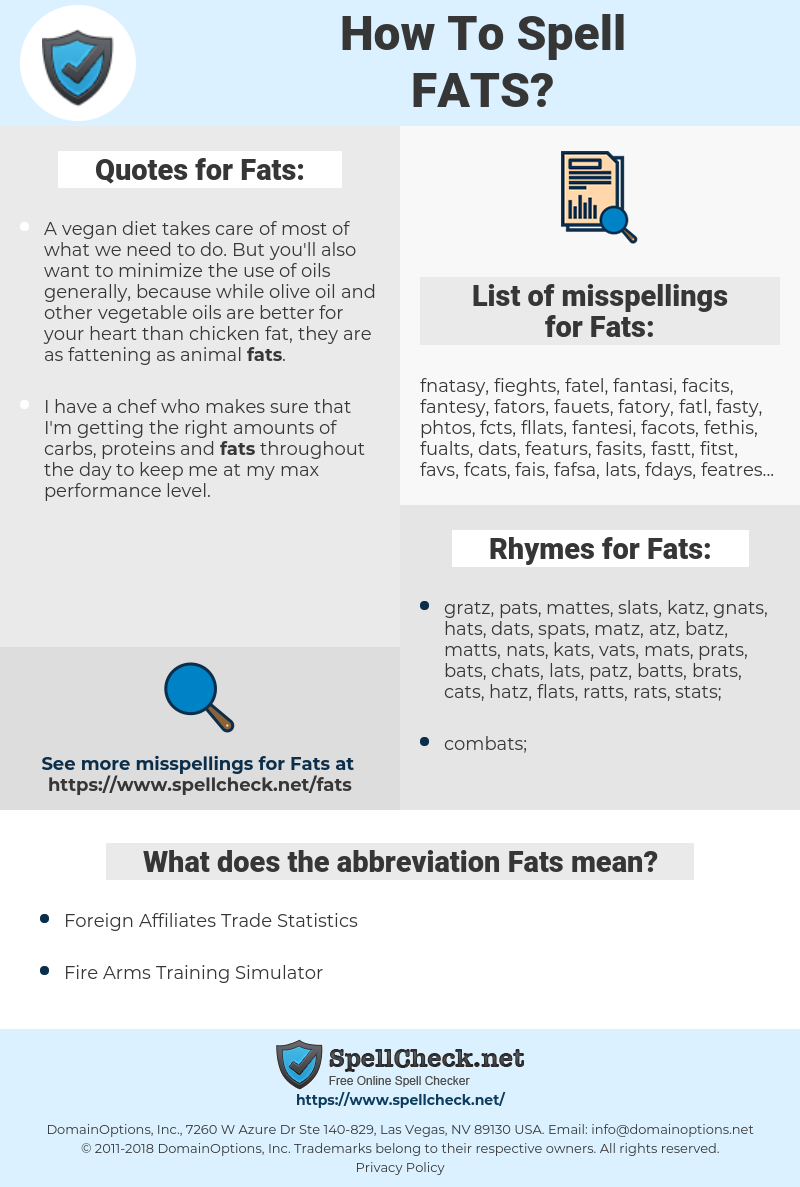 Fats, spellcheck Fats, how to spell Fats, how do you spell Fats, correct spelling for Fats
