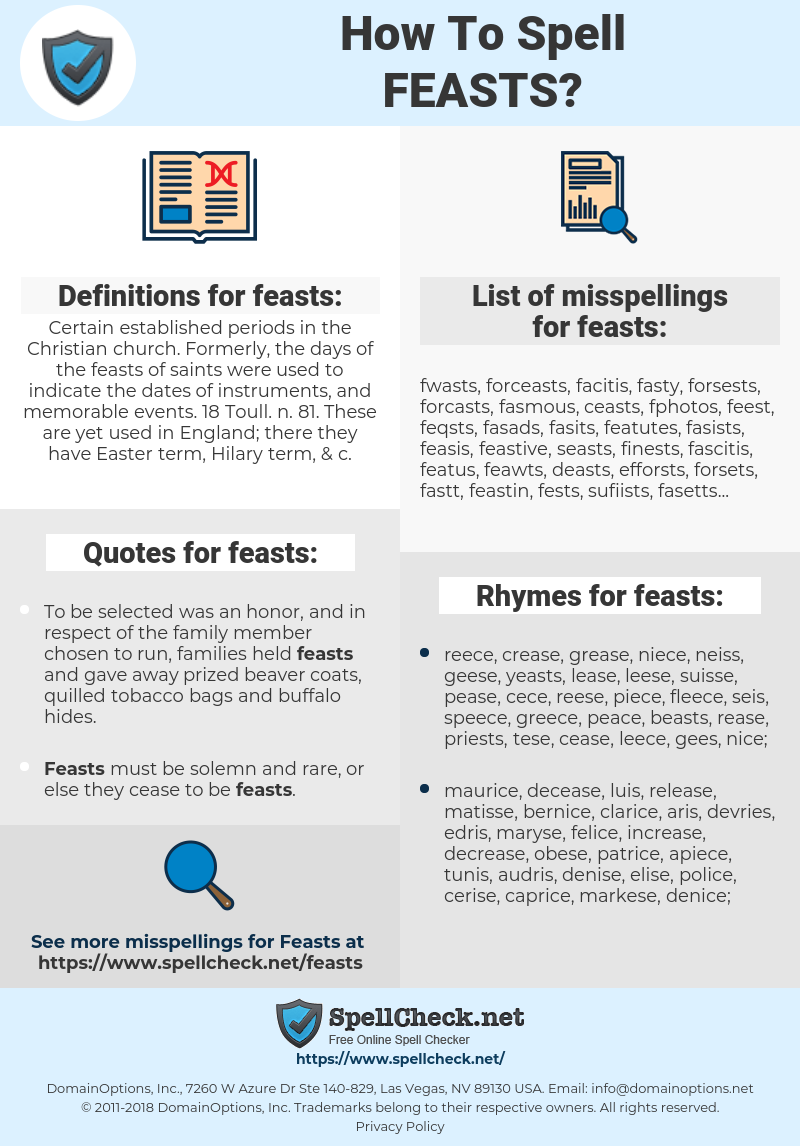 feasts, spellcheck feasts, how to spell feasts, how do you spell feasts, correct spelling for feasts