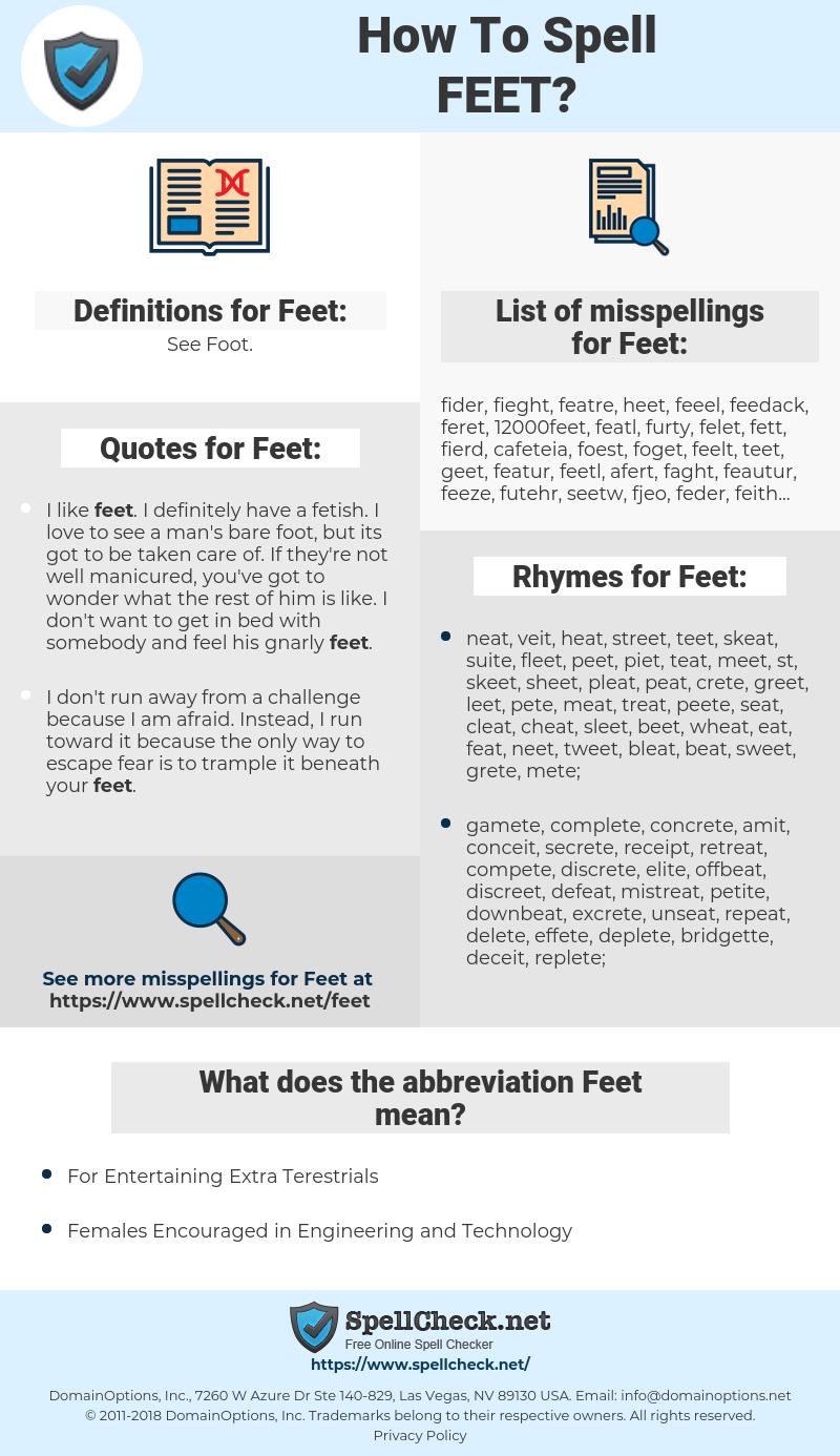 Feet, spellcheck Feet, how to spell Feet, how do you spell Feet, correct spelling for Feet