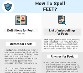 Feet, spellcheck Feet, how to spell Feet, how do you spell Feet, correct spelling for Feet