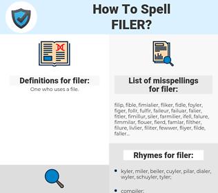 filer, spellcheck filer, how to spell filer, how do you spell filer, correct spelling for filer