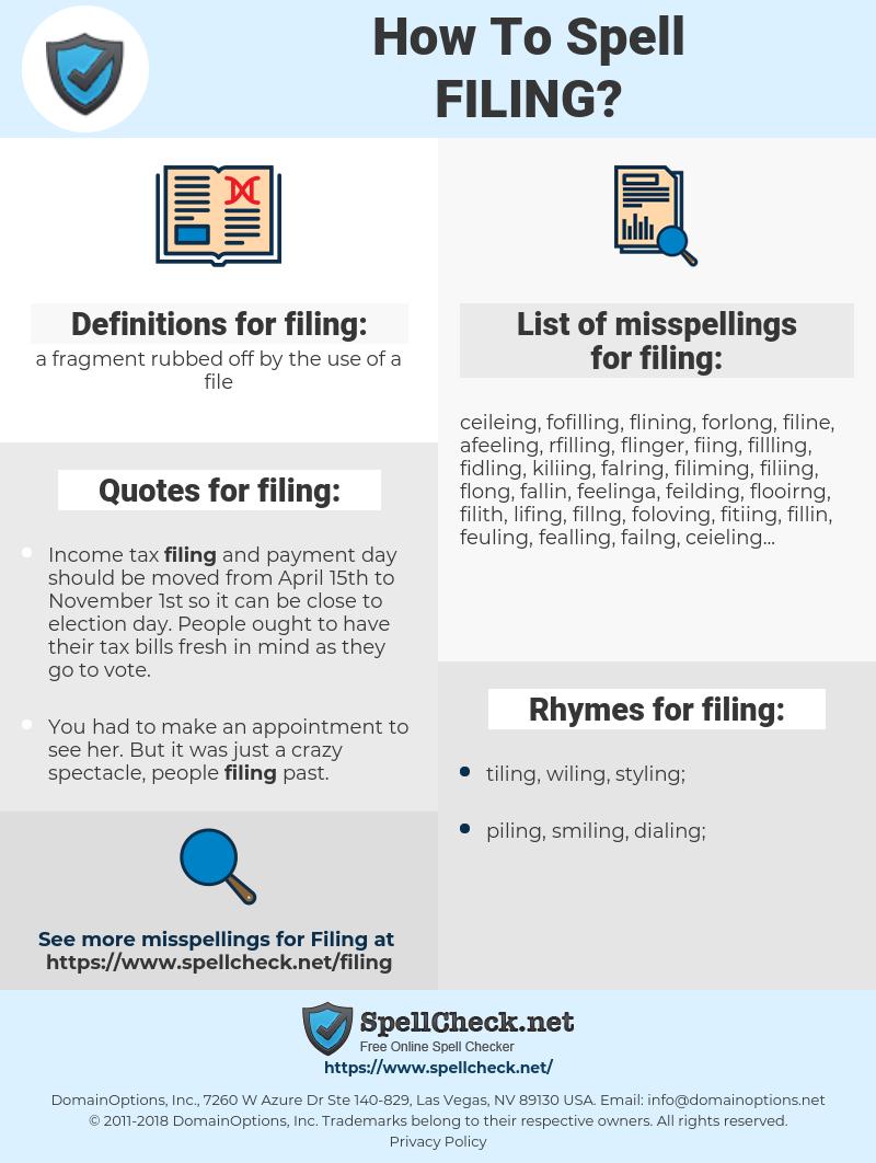 filing, spellcheck filing, how to spell filing, how do you spell filing, correct spelling for filing