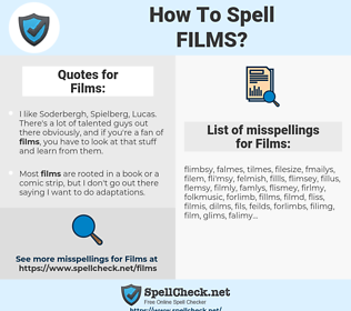 Films, spellcheck Films, how to spell Films, how do you spell Films, correct spelling for Films