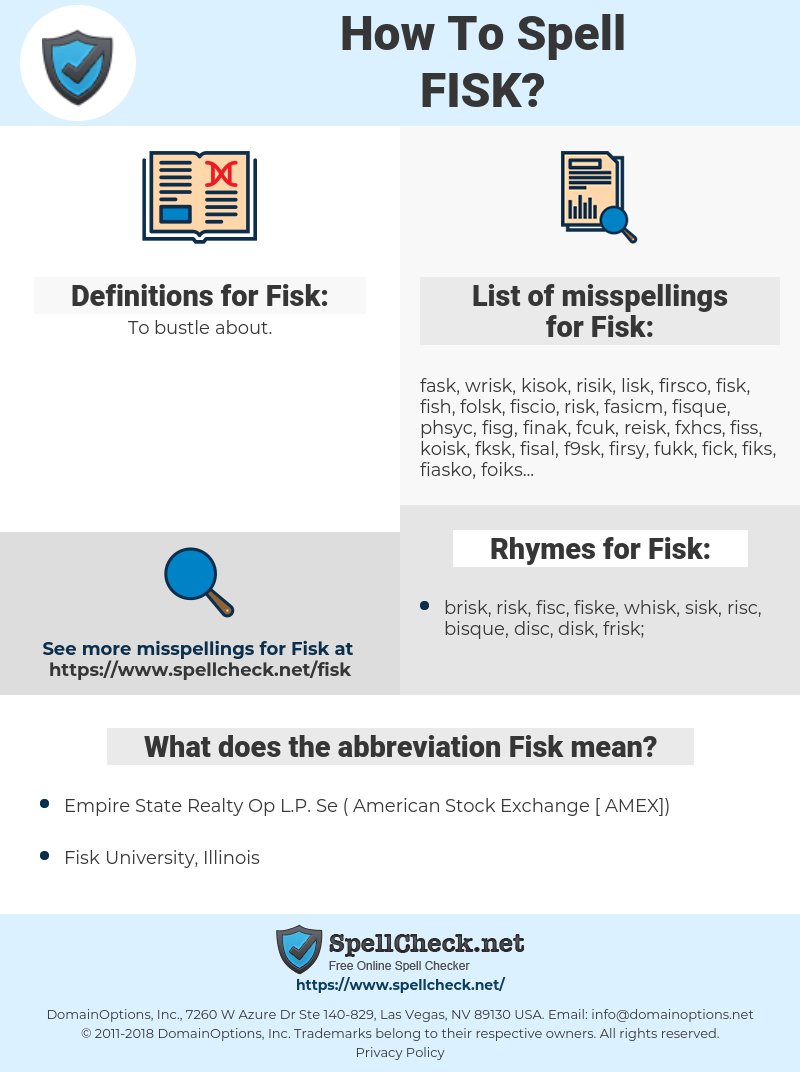 Fisk, spellcheck Fisk, how to spell Fisk, how do you spell Fisk, correct spelling for Fisk