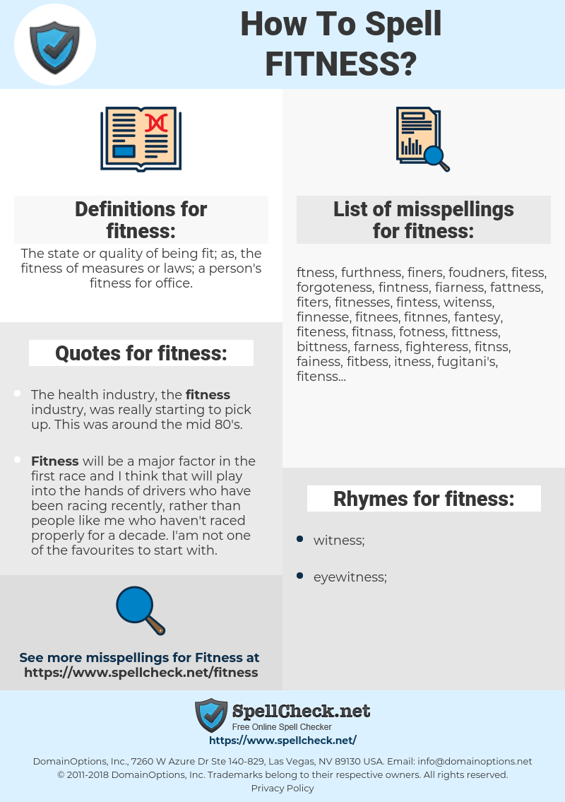 fitness, spellcheck fitness, how to spell fitness, how do you spell fitness, correct spelling for fitness