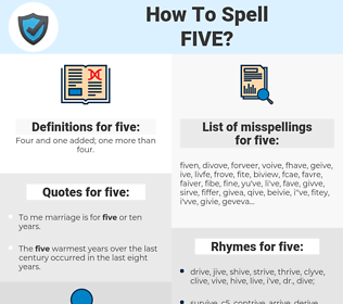 five, spellcheck five, how to spell five, how do you spell five, correct spelling for five