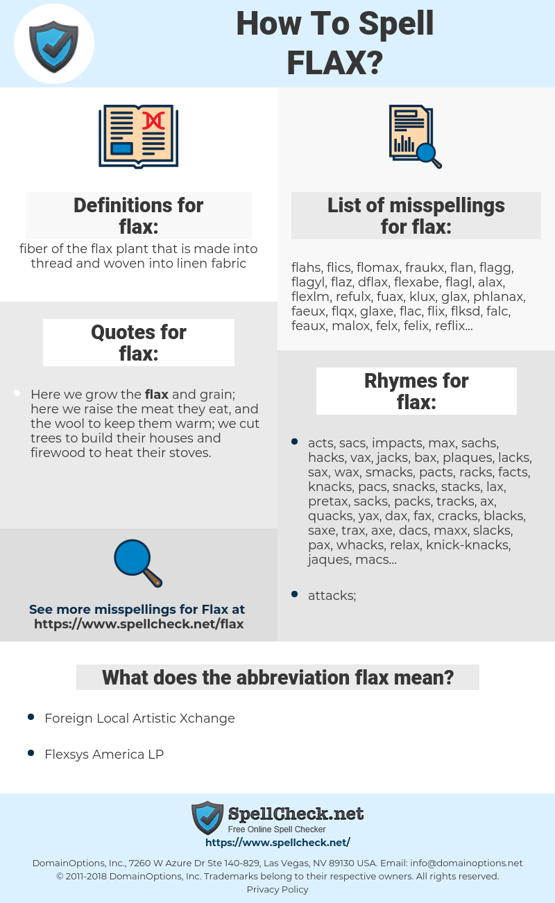 How To Spell Flax? | SpellCheck net