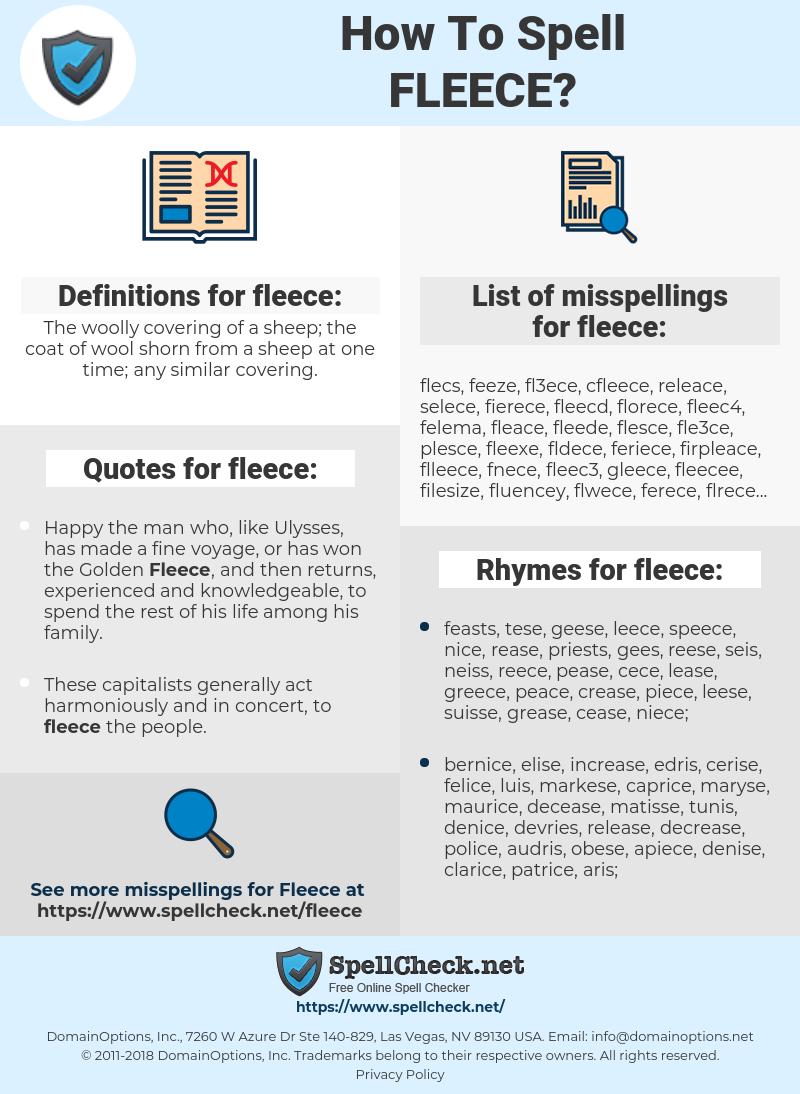 fleece, spellcheck fleece, how to spell fleece, how do you spell fleece, correct spelling for fleece