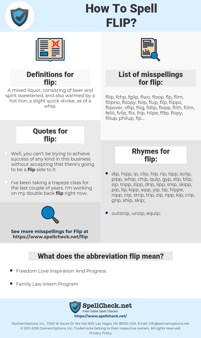 flip, spellcheck flip, how to spell flip, how do you spell flip, correct spelling for flip