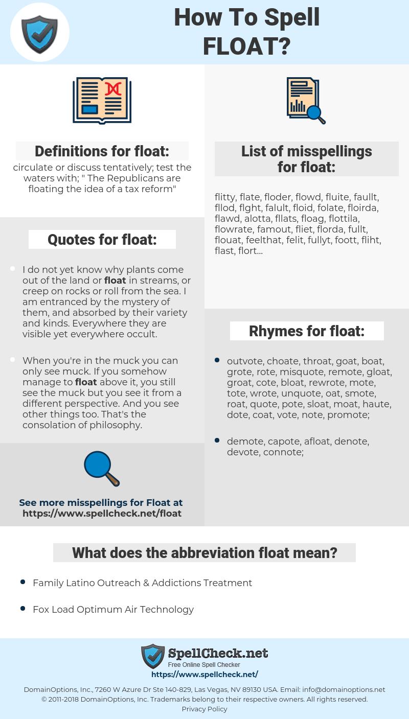 float, spellcheck float, how to spell float, how do you spell float, correct spelling for float