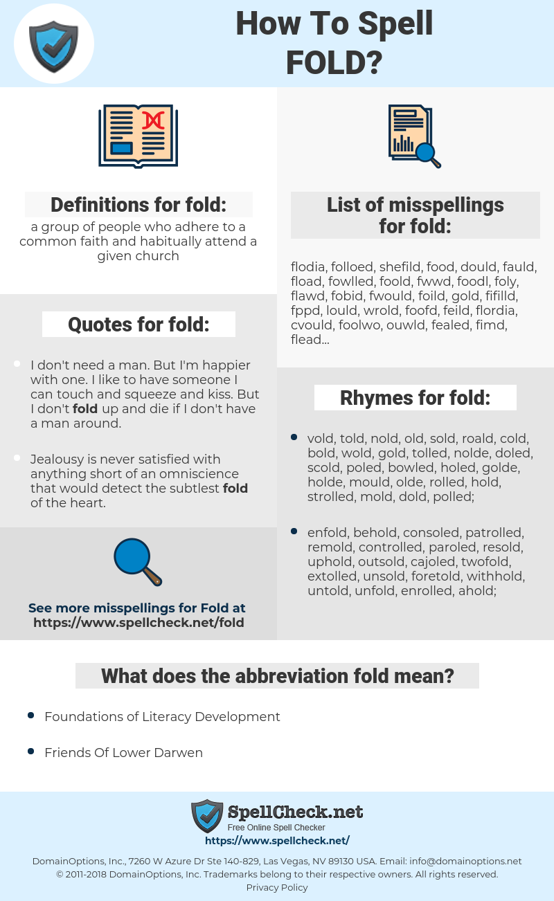 fold, spellcheck fold, how to spell fold, how do you spell fold, correct spelling for fold