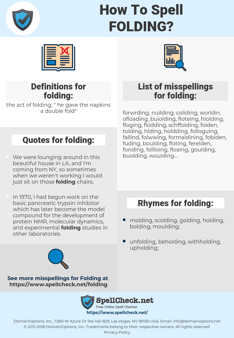 folding, spellcheck folding, how to spell folding, how do you spell folding, correct spelling for folding