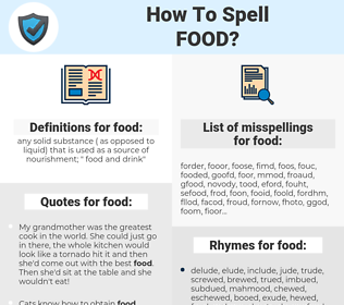food, spellcheck food, how to spell food, how do you spell food, correct spelling for food