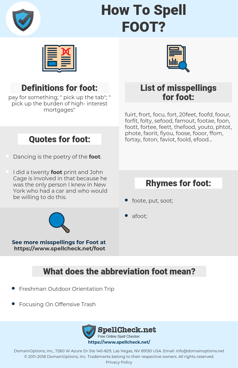 foot, spellcheck foot, how to spell foot, how do you spell foot, correct spelling for foot