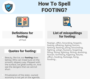 footing, spellcheck footing, how to spell footing, how do you spell footing, correct spelling for footing