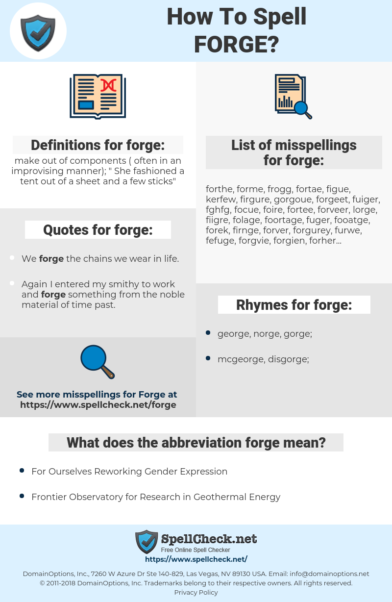 forge, spellcheck forge, how to spell forge, how do you spell forge, correct spelling for forge