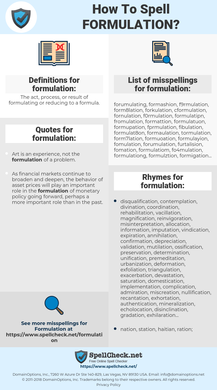 formulation, spellcheck formulation, how to spell formulation, how do you spell formulation, correct spelling for formulation