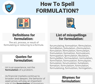 formulation, spellcheck formulation, how to spell formulation, how do you spell formulation, correct spelling for formulation