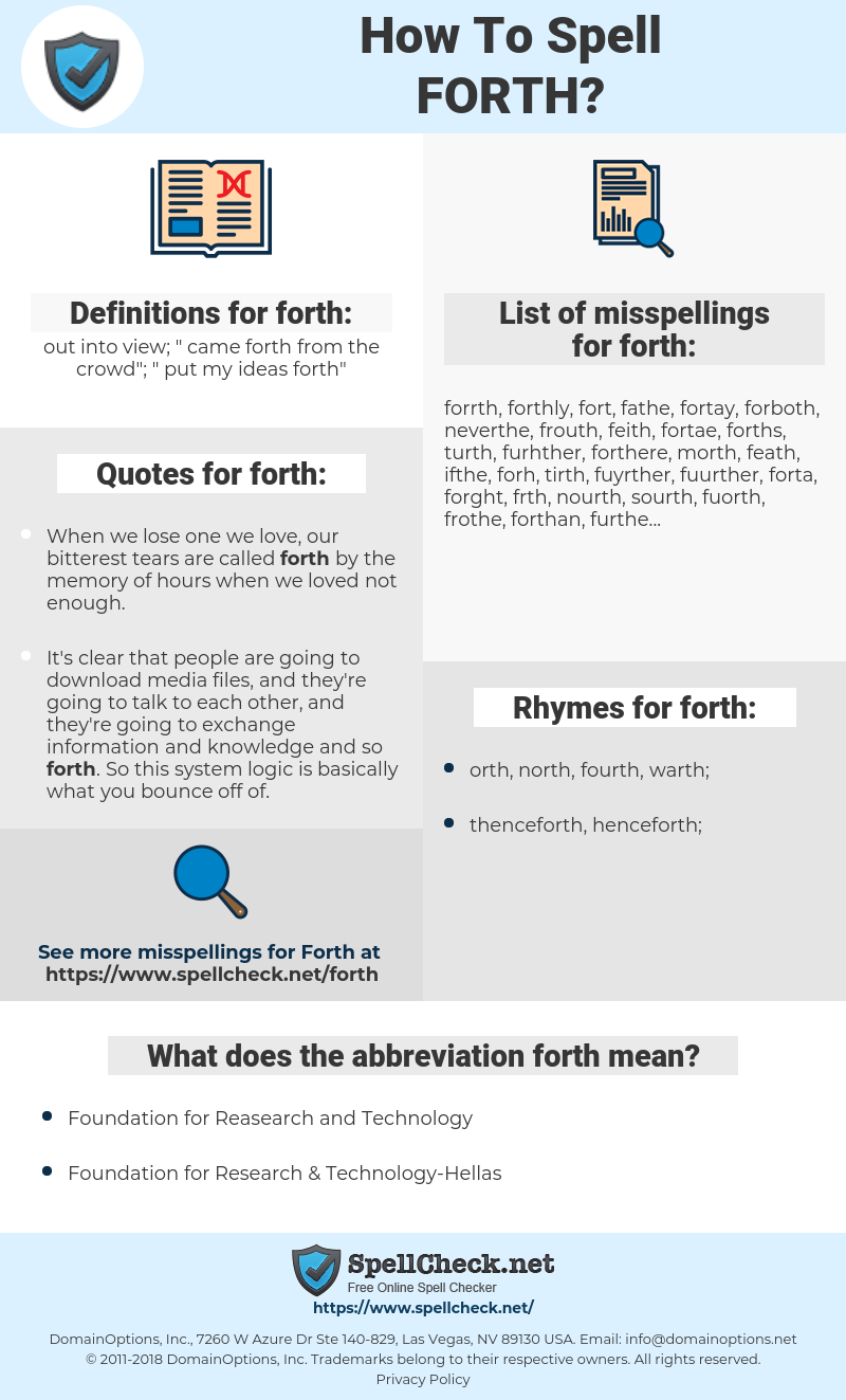 forth, spellcheck forth, how to spell forth, how do you spell forth, correct spelling for forth