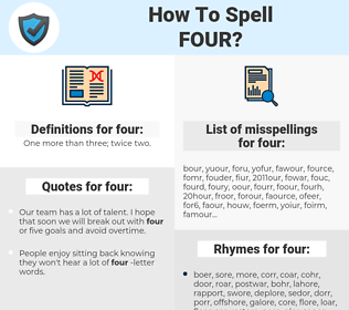 four, spellcheck four, how to spell four, how do you spell four, correct spelling for four