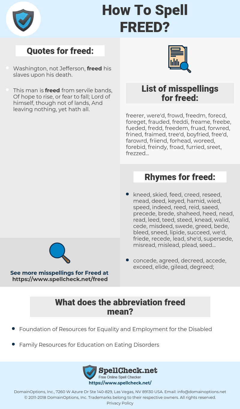 freed, spellcheck freed, how to spell freed, how do you spell freed, correct spelling for freed