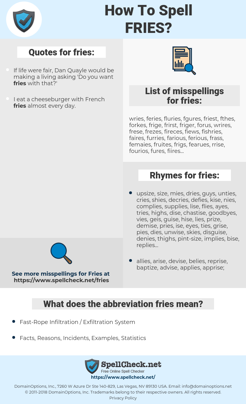 fries, spellcheck fries, how to spell fries, how do you spell fries, correct spelling for fries