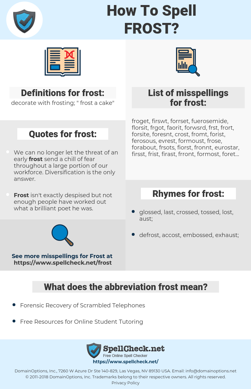 frost, spellcheck frost, how to spell frost, how do you spell frost, correct spelling for frost