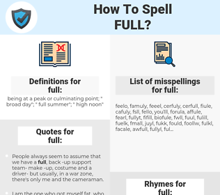 full, spellcheck full, how to spell full, how do you spell full, correct spelling for full