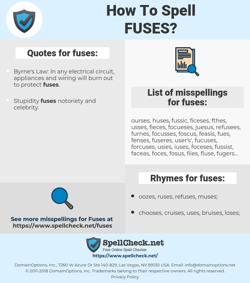 fuses, spellcheck fuses, how to spell fuses, how do you spell fuses, correct spelling for fuses