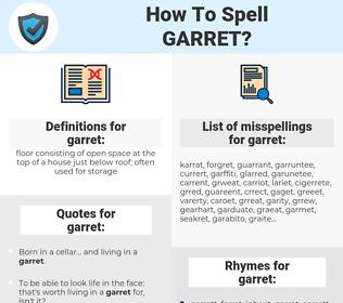garret, spellcheck garret, how to spell garret, how do you spell garret, correct spelling for garret