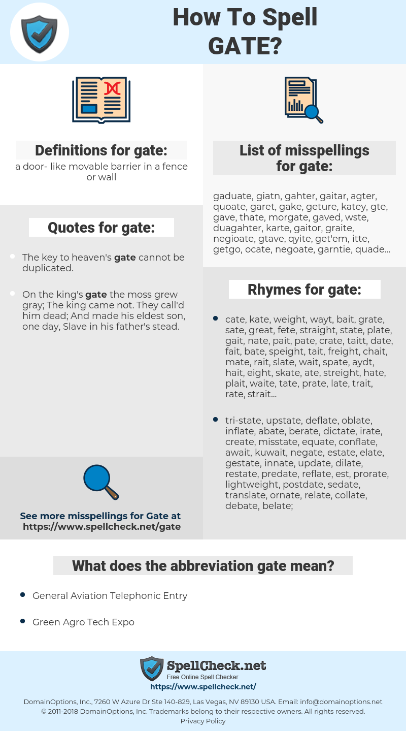 gate, spellcheck gate, how to spell gate, how do you spell gate, correct spelling for gate
