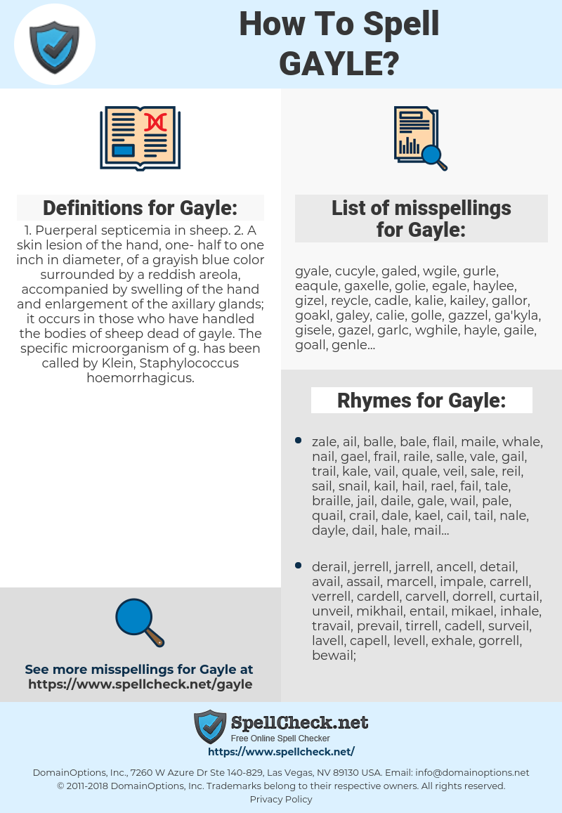 Gayle, spellcheck Gayle, how to spell Gayle, how do you spell Gayle, correct spelling for Gayle