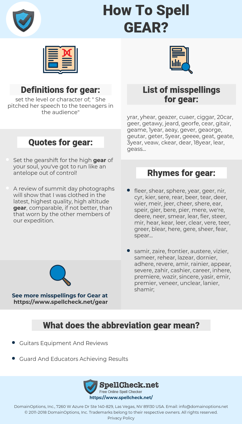 gear, spellcheck gear, how to spell gear, how do you spell gear, correct spelling for gear