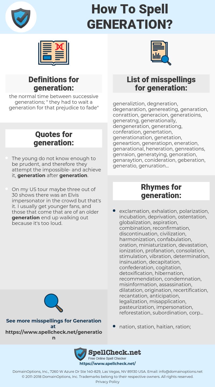 generation, spellcheck generation, how to spell generation, how do you spell generation, correct spelling for generation