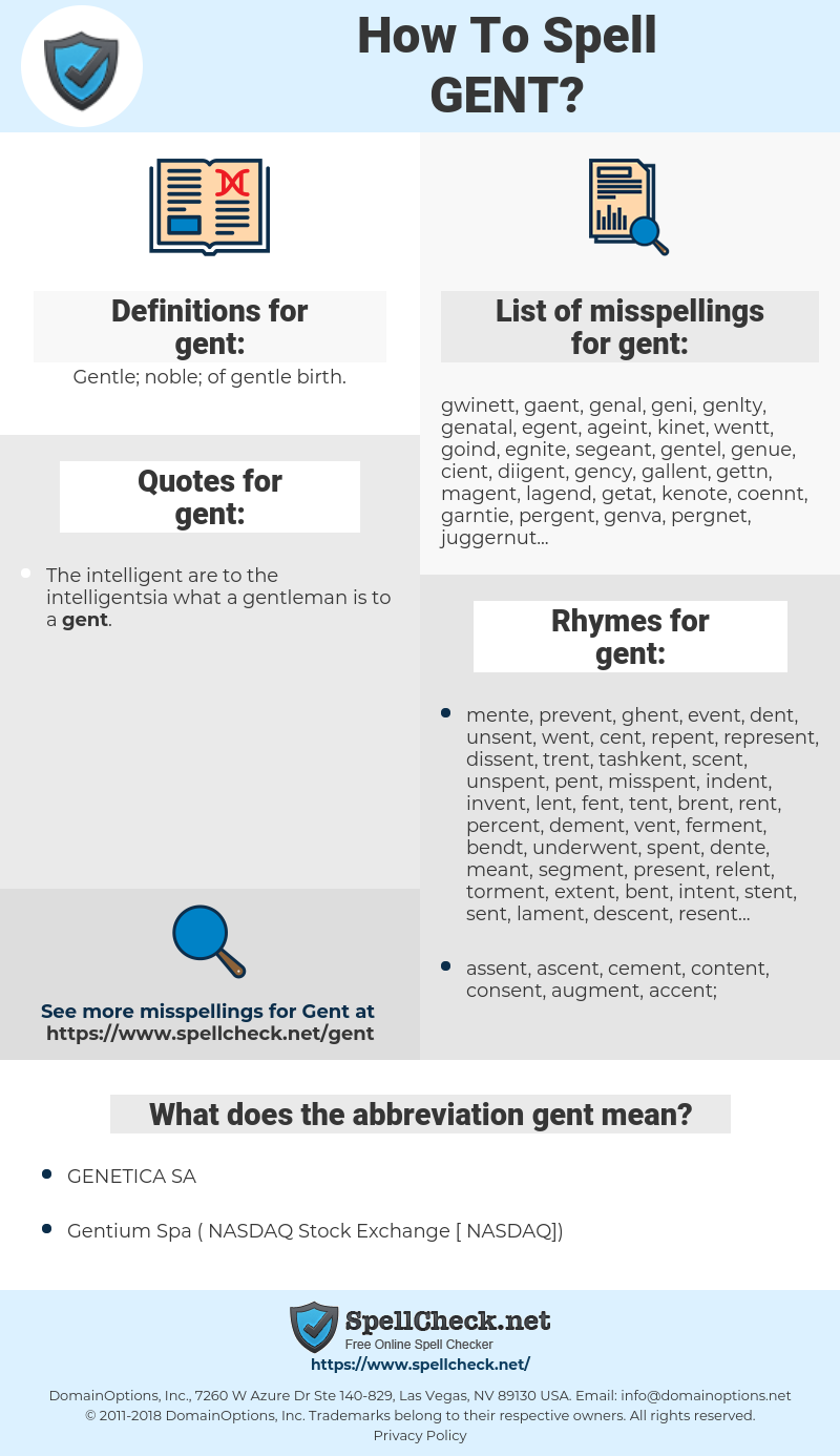 gent, spellcheck gent, how to spell gent, how do you spell gent, correct spelling for gent