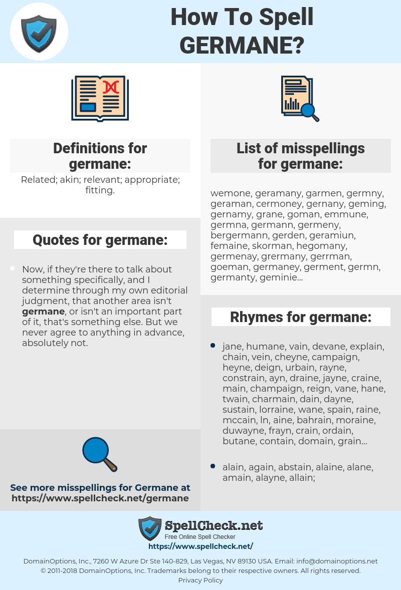 Germane Relevant