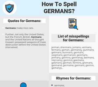 Germans, spellcheck Germans, how to spell Germans, how do you spell Germans, correct spelling for Germans