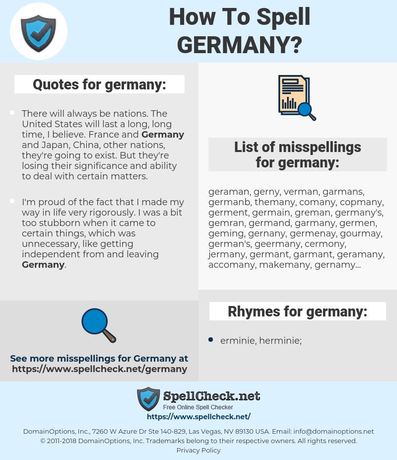 germany, spellcheck germany, how to spell germany, how do you spell germany, correct spelling for germany
