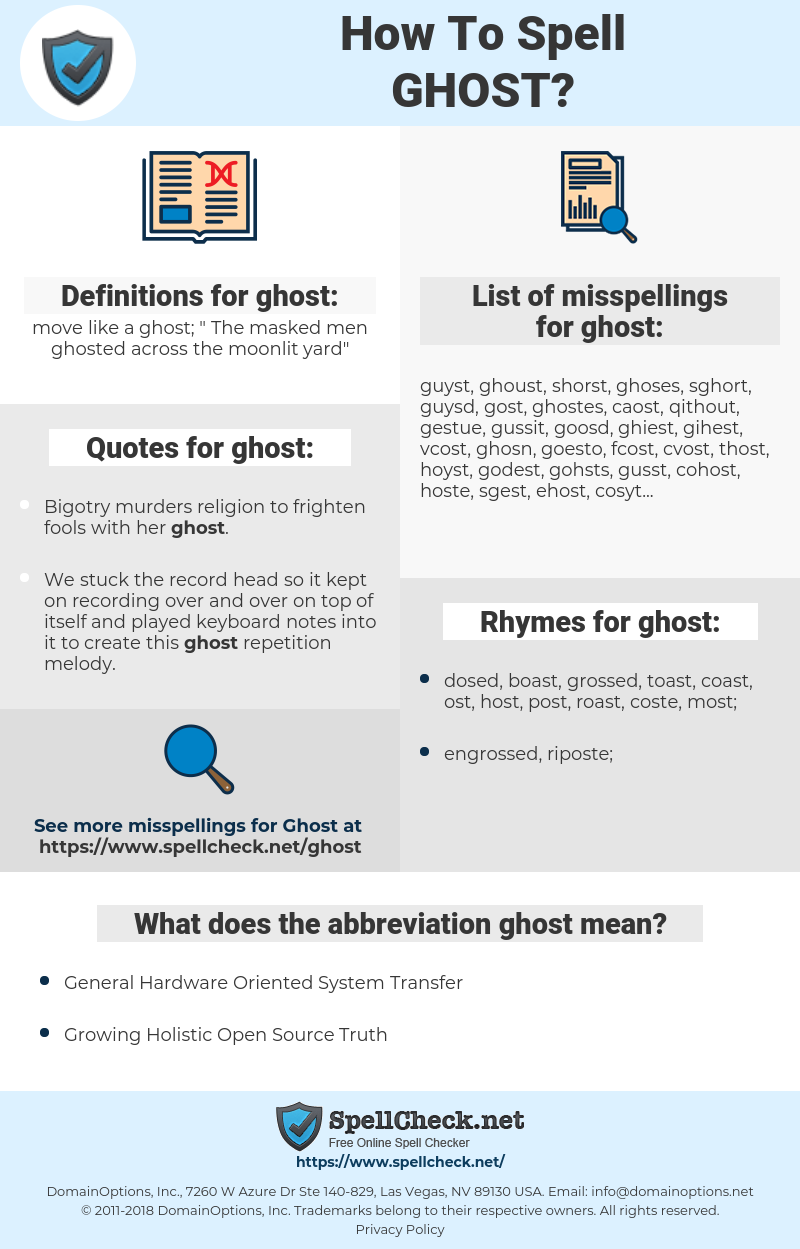 ghost, spellcheck ghost, how to spell ghost, how do you spell ghost, correct spelling for ghost