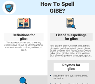gibe, spellcheck gibe, how to spell gibe, how do you spell gibe, correct spelling for gibe