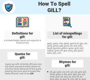 gill, spellcheck gill, how to spell gill, how do you spell gill, correct spelling for gill