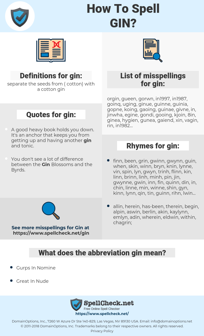 gin, spellcheck gin, how to spell gin, how do you spell gin, correct spelling for gin