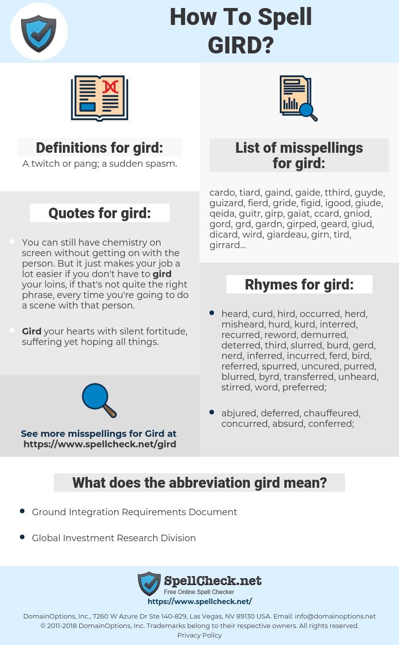 gird, spellcheck gird, how to spell gird, how do you spell gird, correct spelling for gird