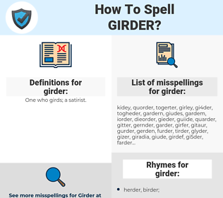 girder, spellcheck girder, how to spell girder, how do you spell girder, correct spelling for girder