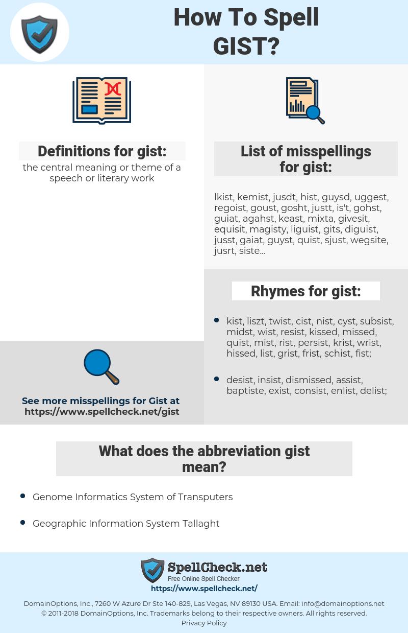 gist, spellcheck gist, how to spell gist, how do you spell gist, correct spelling for gist